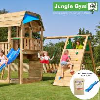 Leikkikeskus Jungle Gym Barn, sis. kiipeilymoduuli, 120 kg hiekkaa ja sininen liukumäki