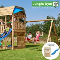 Leikkikeskus Jungle Gym Barn, sis. keinumoduuli, 120 kg hiekkaa ja sininen liukumäki