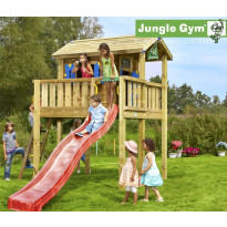 Leikkimökki Jungle Gym Playhouse Tower XL, sis. jalusta ja punainen liukumäki