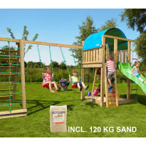 Leikkikeskus Jungle Gym Villa ja Climb Module X'tra, sis. 120kg hiekkaa ja vihreän liukumäen