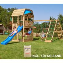 Leikkikeskus Jungle Gym Barn ja Climb Module Xtra, sis. 120kg hiekkaa ja sinisen liukumäen