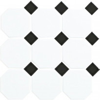 Lattialaatta LPC Art Octagon, 9,77x9,77cm, verkolla, valkoinen/musta