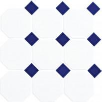 Lattialaatta LPC Art Octagon, 9,77x9,77cm, verkolla, valkoinen/sininen