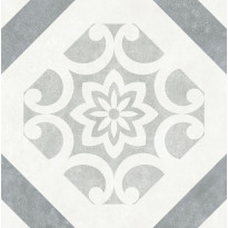Lattialaatta LPC Firenze Art Déco Dec Grey, 32,5x32,5cm, harmaa