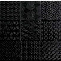 Lattialaatta LPC Spirit Black, 9,8x9,8cm, verkolla, musta