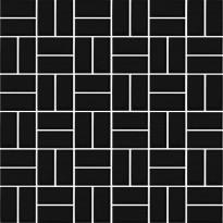 Mosaiikkilaatta LPC Basket Weave Matt Black 0790, 2,2x4,7cm, verkolla, musta