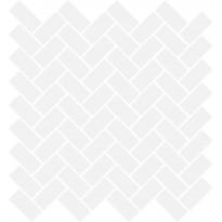 Mosaiikkilaatta LPC Herringbone Gloss White 6113, 2,2x4,7cm, verkolla, valkoinen