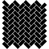 Mosaiikkilaatta LPC Herringbone Gloss Black 6790, 2,2x4,7cm, verkolla, musta