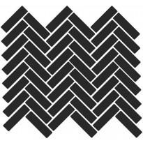 Mosaiikkilaatta LPC Art Flat Herringbone 7003, 2,19x7,28cm, musta