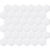Mosaiikkilaatta LPC Hexagon Valkoinen, 5,1x5,9cm, 6-kulmainen, verkolla, kiiltävä