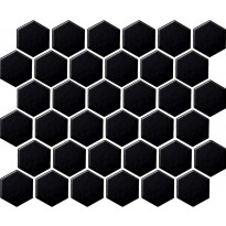 Mosaiikkilaatta LPC Hexagon Mattamusta, 5,1x5,9cm, 6-kulmainen, verkolla