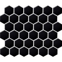 Mosaiikkilaatta LPC Hexagon Musta, 5,1x5,9cm, 6-kulmainen, verkolla, kiiltävä