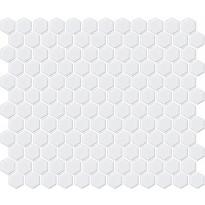Mosaiikkilaatta LPC Hexagon XS Matta Valkoinen, 2,3x2,6cm, 6-kulmainen, verkolla