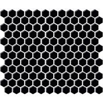 Mosaiikkilaatta LPC Hexagon XS Matta Musta, 2,3x2,6cm, 6-kulmainen, verkolla