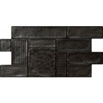 Seinälaatta LPC Figure Musta, 33,3x66,6cm, kohokuvioinen, kiiltävä