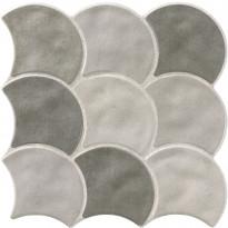 Lattialaatta LPC Shell Harmaa Mix, 30,7x30,7cm, laineileva, matta
