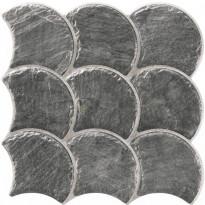 Lattialaatta LPC Piedra Simpukka Antrasiitti, 30,7x30,7cm, strukturoitu, matta musta