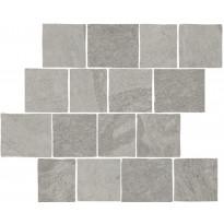 Mosaiikkilaatta LPC Slate St Pave Grafiitti, tasapintainen, matta, leikattu, lasikuituverkolla, harmaa