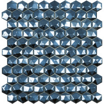 Mosaiikkilaatta LPC Honey Diamond Black 358/D, 3,5x3,5cm, 6-kulmainen, lasikuituverkolla, musta
