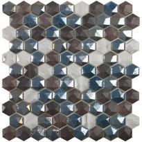 Mosaiikkilaatta LPC Sapelly Mix, 3,5x3,5cm, kohokuvio, kiiltävä, 6-kulma, lasikuituverkolla, harmaa