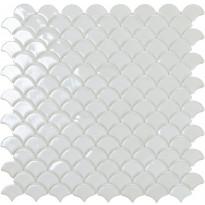 Mosaiikkilaatta LPC Soul White 6000S, 3,6x2,9cm, kohokuvio, kiiltävä, lasikuituverkolla, valkoinen