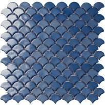 Mosaiikkilaatta LPC Soul Dark Blue 6004S, 3,6x2,9cm, kohokuvioinen, kiiltävä, lasikuituverkolla, sininen