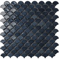 Mosaiikkilaatta LPC Soul Black 6005S, 3,6x2,9cm, kohokuvioinen, kiiltävä, lasikuituverkolla, musta
