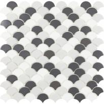 Mosaiikkilaatta LPC Soul Grey Mix 6106S/6110S/6005S, 3,6x2,9cm, kohokuvio, matta,lasikuituverkolla, harmaa