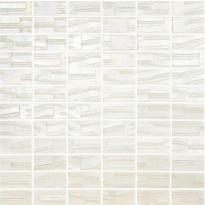 Mosaiikkilaatta LPC Glass Moon White 652, 2,5x5cm, kohokuvio, matta, lasikuituverkolla, valkoinen