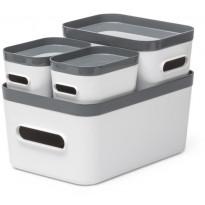 Säilytyslaatikkosetti SmartStore Compact 4-pack, valkoinen/harmaa