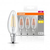 LED-lamppu Osram BASE CLASSIC B FIL 40, 4 W/827, E14, 3 kpl/pak