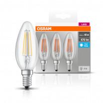 LED-lamppu Osram BASE CLASSIC B FIL 40, 4 W/840, E14, 3 kpl/pak