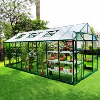 Kasvihuone Metalcraft, 12.7 m², 4mm turvalasi, vihreä, Verkkokaupan poistotuote