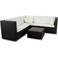 Loungeryhmä Lyfco, 164x164cm, tyynyillä, polyrottinki, musta/valkoinen, Verkkokaupan poistotuote