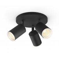 LED-spottivalaisin Philips Hue Fugato, bluetooth, 3x5.7W, IP20, GU10, Ø195x153mm, musta