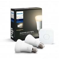 Aloituspakkaus Philips Hue W, 2kpl älylamppu (E27, 9W) + silta, Verkkokaupan poistotuote