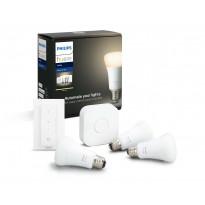 Aloituspakkaus Philips Hue W, 3kpl älylamppu (E27, 9W) + silta + himmennin