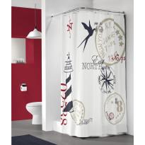 Suihkuverho Pisla Sealskin Faro, 180x200cm, valkoinen, kuvioitu, tekstiili