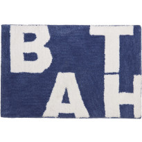 Kylpyhuonematto Pisla Sealskin Littera, 60x90cm, sininen, tekstillä