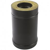Eristetty jatko-osa Pisla-kamiinalle, 500mm/150mm, musta/rst