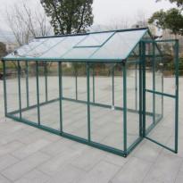 Kasvihuone AB Polar, 5,7m², turvalasit, vihreä alumiinirunko