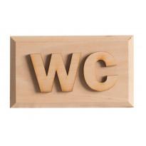 WC-kyltti, 12x7cm, tervaleppää, kohokirjaimet, tarrakiinnitys