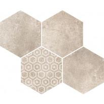 Mosaiikkilaatta Pukkila Reden Ivory Esagone Mix, himmeä, sileä, 370x300mm