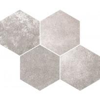 Mosaiikkilaatta Pukkila Reden Grey Esagone Mix, himmeä, sileä, 370x300mm
