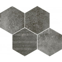 Mosaiikkilaatta Pukkila Reden Dark Grey Esagone Mix, himmeä, sileä, 370x300mm