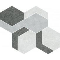 Mosaiikkilaatta Pukkila Archiresin Esagona Mix Freddo, puolikiiltävä, sileä, 265x310mm