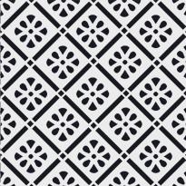 Kuviolaatta Pukkila Medley Rap black/white, himmeä, sileä, 200x200mm