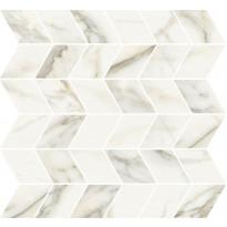 Mosaiikkilaatta Pukkila Marble Boutique Calacatta White Chevron, kiiltävä, sileä, 298x298mm