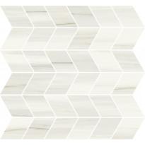 Mosaiikkilaatta Pukkila Marble Boutique Lasa White Chevron, kiiltävä, sileä, 298x298mm