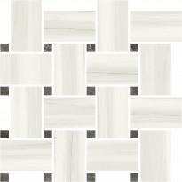 Mosaiikkilaatta Pukkila Marble Boutique Lasa White Chesterfield, kiiltävä, sileä, 317x305mm
